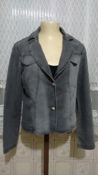 Lindo Blazer Cropped Jeans Feminino Elastano M Usado