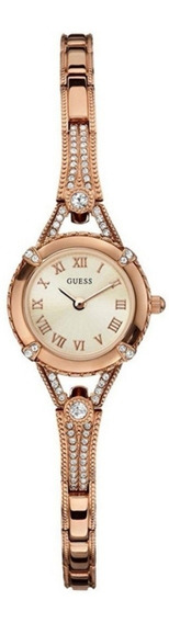 Reloj Guess Para Dama Cristales Rosa Dorado