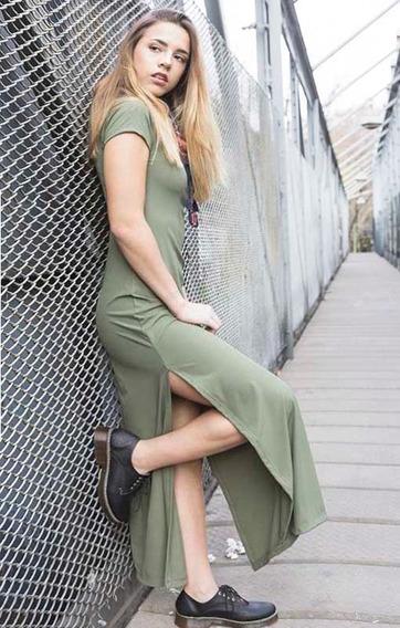 Vestido Mujer Largo Verde Premilitar Rimmel Noche Salir