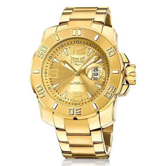Relógio Everlast Masculino Ref: E656 Big Case Dourado