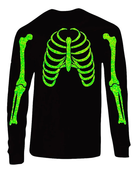 Playera Halloween Manga Larga Esqueleto Glitter