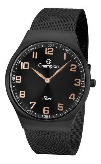 Relógio Champion Masculino Ref: Ca21839p Slim Mesh Black