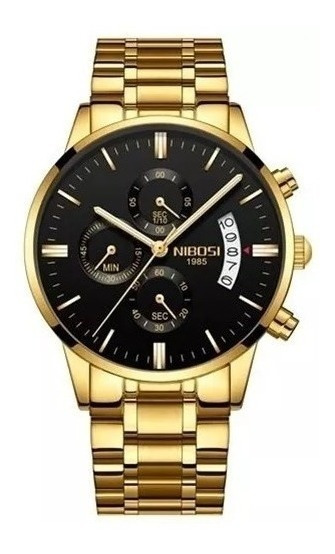 Relógio Nibosi Dourado Luxo Original Masculino Frete Grátis