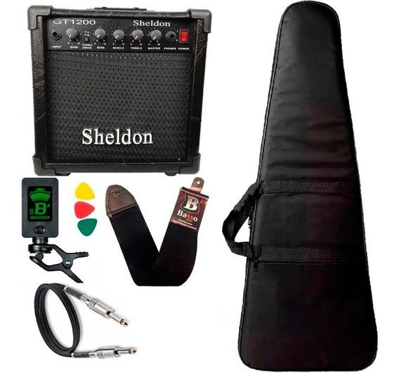 Kit Para Guitarra Amplificador Sheldon Capa Bag Acolchoado