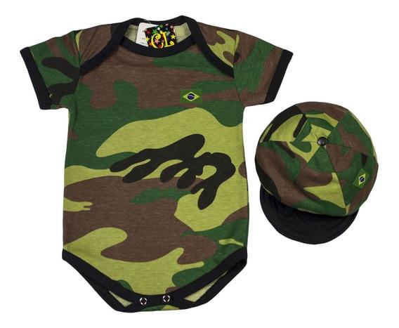 Body Militar Camuflado Com Chapéu - Roupa Bebê