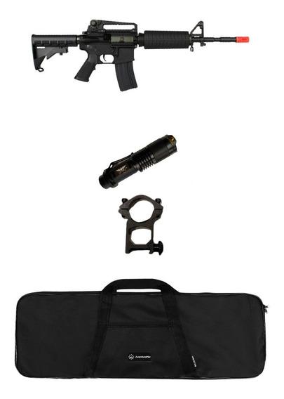 Rifle Airsoft Elétrico King Arms M4a1 + Lanterna + Capa