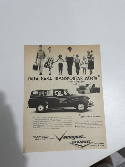 Propaganda Antiga Vemoguet Dkm-vemac Raro Anúncio Publicidad