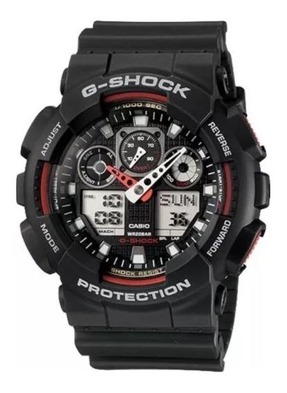 Relógio G-shock Ga100 1a4 Wr-200 5 Alarmes Hr Mundial