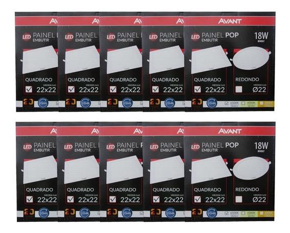 Kit 10 Plafon Avant Quadrado   18w   6500k   Bivolt 22x22cm