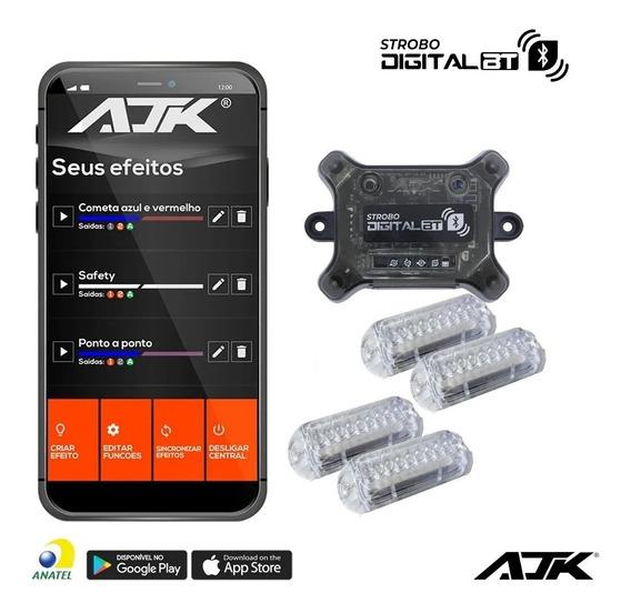 Kit Strobo Ajk Digital Bluetooth 4 Faróis Muito Forte 9 Leds