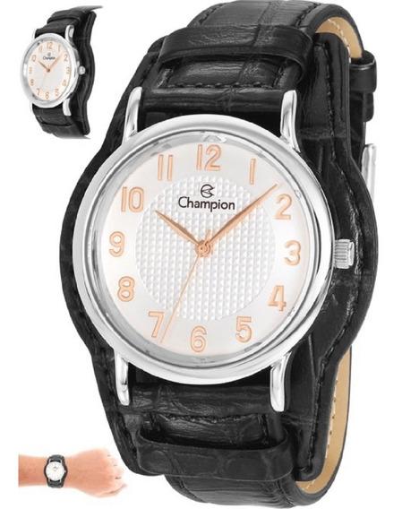 Relógio Champion Feminino Couro Cn20275q Detalhes Rose
