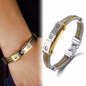 Pulseira Masculina Bracelete Aço Inox Zircônios + Prata Ouro