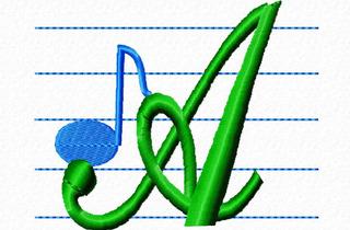 Matriz Bordado Alfabeto Notas Musicais