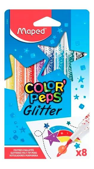 Marcadores Maped Colorpeps Glitter X8 Brillo Educando Full