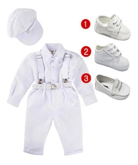 Conjunto Batizado Bebe Menino Branco Calça Sapatinho Rn/12