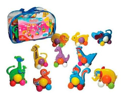 Imagem 1 de 1 de Brinquedos Animais Coloridos 10 Peças