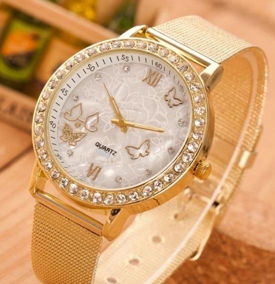 Relógio Feminino Borboletas Com Strass Geneva