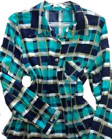 Camisa Xadrez Manga Longa Com 2 Bolso P M G Gg