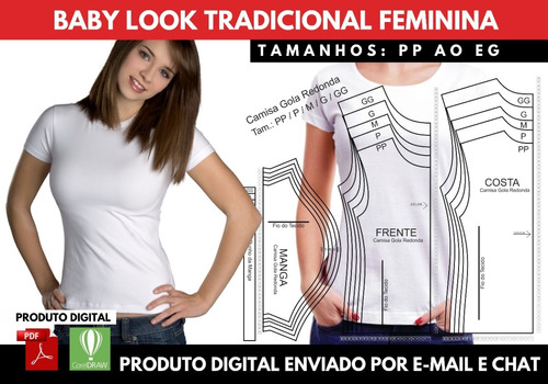 Molde Baby Look Tradicional Feminina