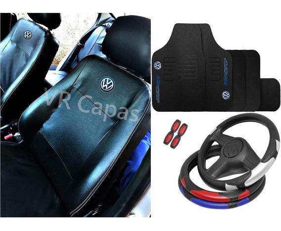 Kit Capas Banco Couro Proteção Tapetes Volante Volkswagen