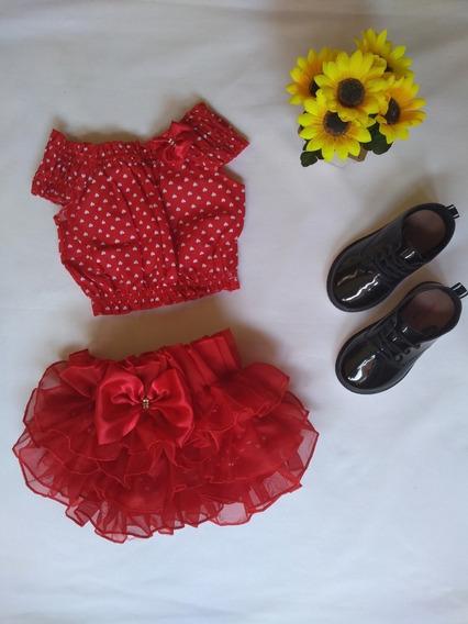 Bunda Rica + Crooped Luxo Moda Infantil Vermelho