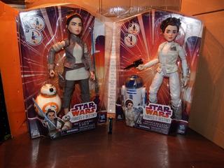 Pack 2 Figuras Star Wars Disney Forces Destiny Rey Leia R2d2