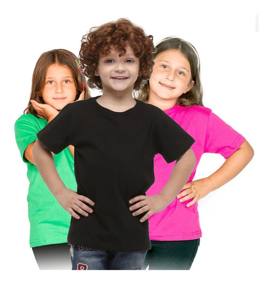 Roupa Infantil Menina Menino Básica Lisa Algodão Camiseta