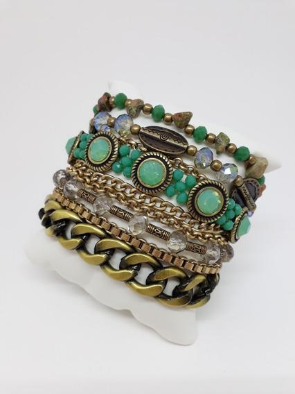 Pulseira Feminina Pedras Verde Jade Ouro Velho Imã 19cm