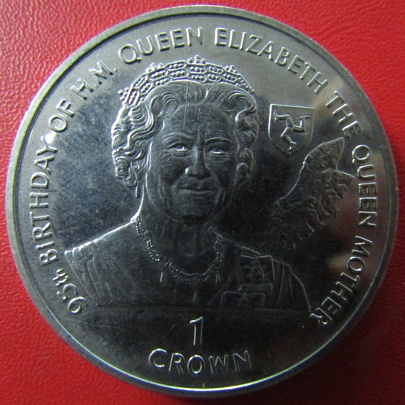Isla De Man Moneda 1 Crown 1995 Unc 95º Aniv. Reina Madre