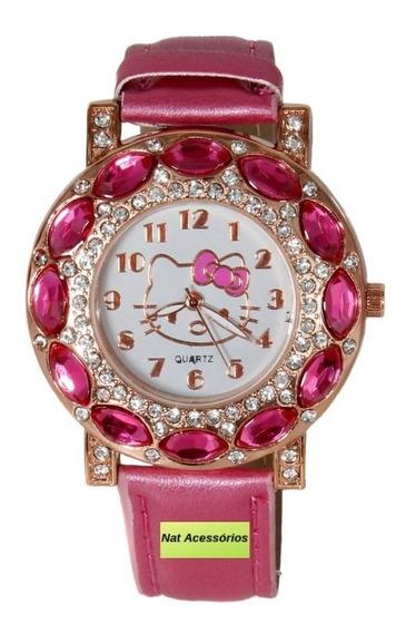 Relógio De Pulso Feminino Infantil Da Hello Kitty Rosa Pink