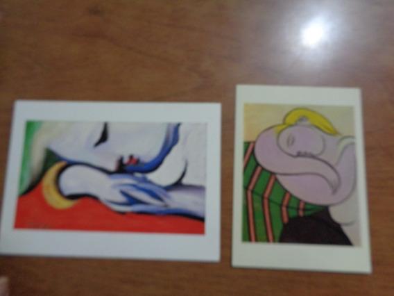 2 Postales Picasso Mujer Pelo Amarillo Durmiendo