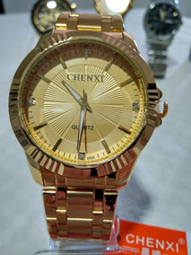 Relógio Masculino Dourado Preto Banhado Ouro + Brinde!!