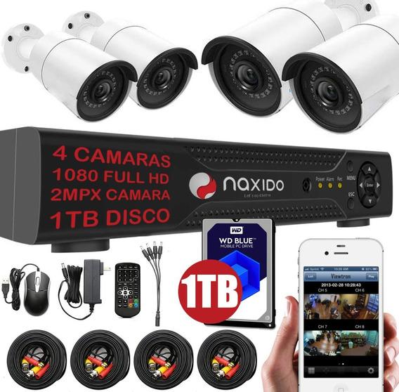 Kit 4 Camaras Seguridad Rigido 1t Ip Dvr Full Hd Infrarroja