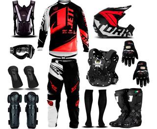 Kit Roupa + Luva Bota Jett Neon Trilha Motocross Pro Tork