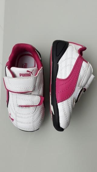 Tênis Puma Infantil Original - Rosa E Branco