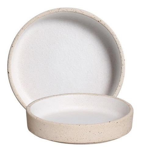 Mini Prato Linha Terra Branco De Cerâmica