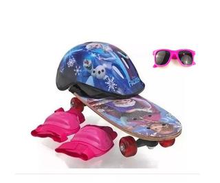 Skate Infantil Frozen + Capacete + Joelheira + Óculos
