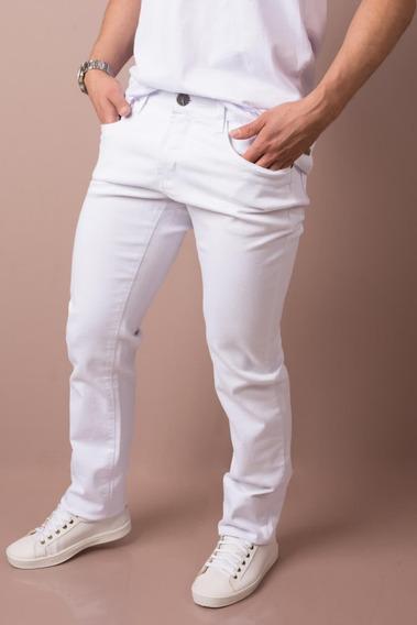 Calça Jeans Masculina Branca Bivik Tamanhos Grandes Até O 60