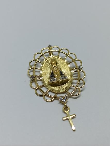Pingente Nossa Senhora Da Aparecida Com Pedras Ouro 18k-750
