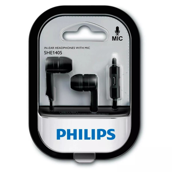 Black Friday Fone De Ouvido She1405bk Com Microfone Philips