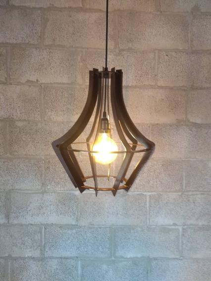 Luminária Lustre Pendente De Madeira 40x35cm ( Nacional )