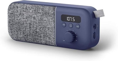 Radio Portatil Recargable Fm Energy Fabric Box Azul Backup