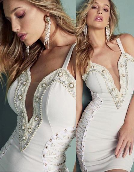 Vestido Alça Off White Bordado Trançado Na Lateral Perfect Way M