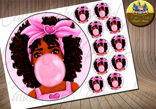Black Power Negra Chiclete Papel De Arroz Para Bolo Md006