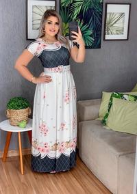 Vestido Longo Feminino Moda Evangélica Com Cinto