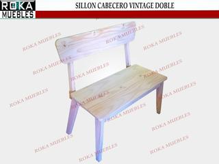 Sillon Cabecero Silla Doble Ovalada Vintage Reforzado Pino