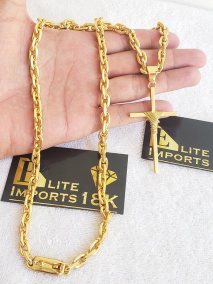 Cordão Cadeado Pingente Cruz 8mm Banhado A Ouro 18k Luxo