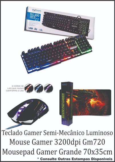 Kit Gamer Telado E Mouse Gamer E Mousepad Grande 70x35