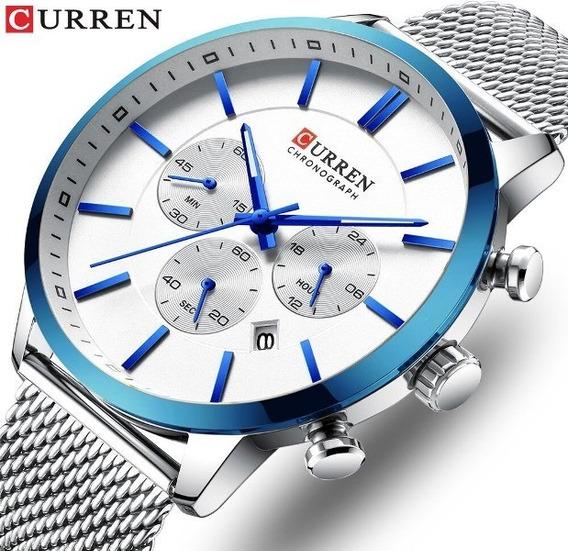 Relógio Curren Cronógrafo Azul - Novo
