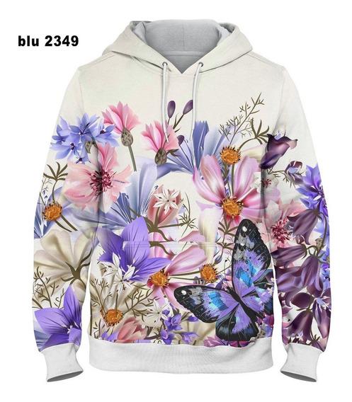 Blusa De Frio Moletom Flowers Full Print - Cod: Blu 2349